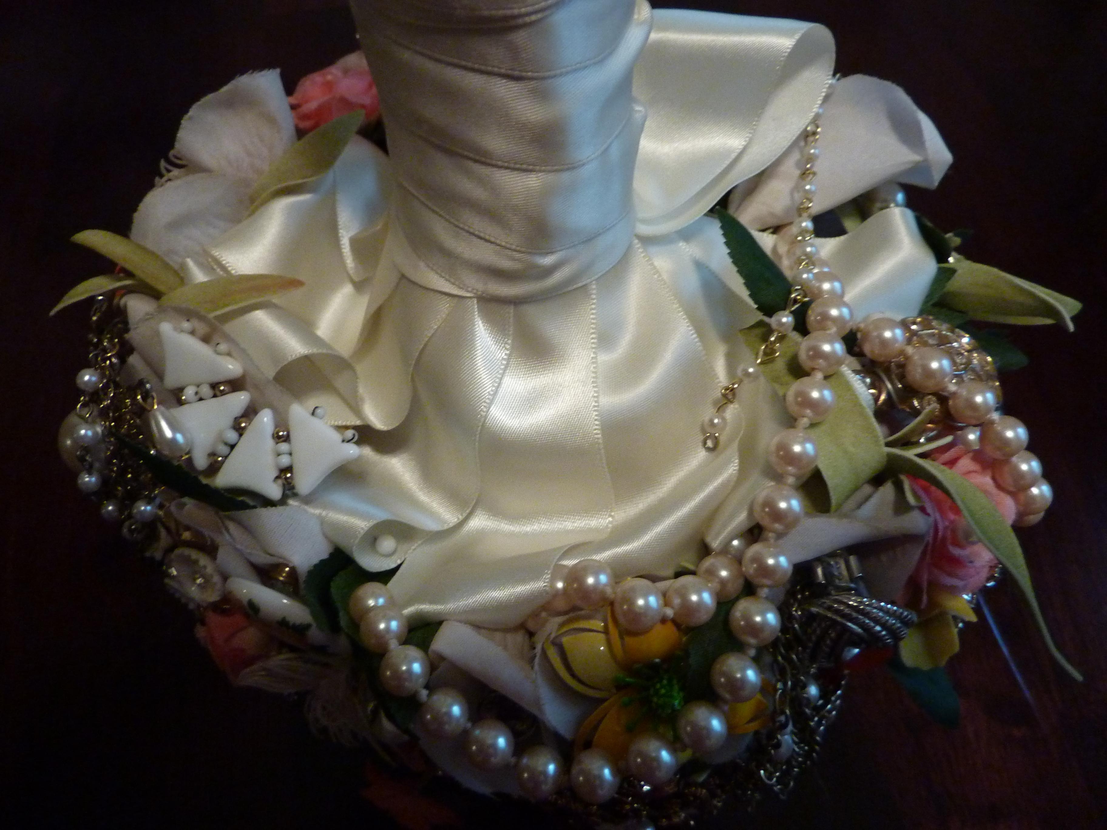 Underside of Brooch Bouquet--Looped Ribbon