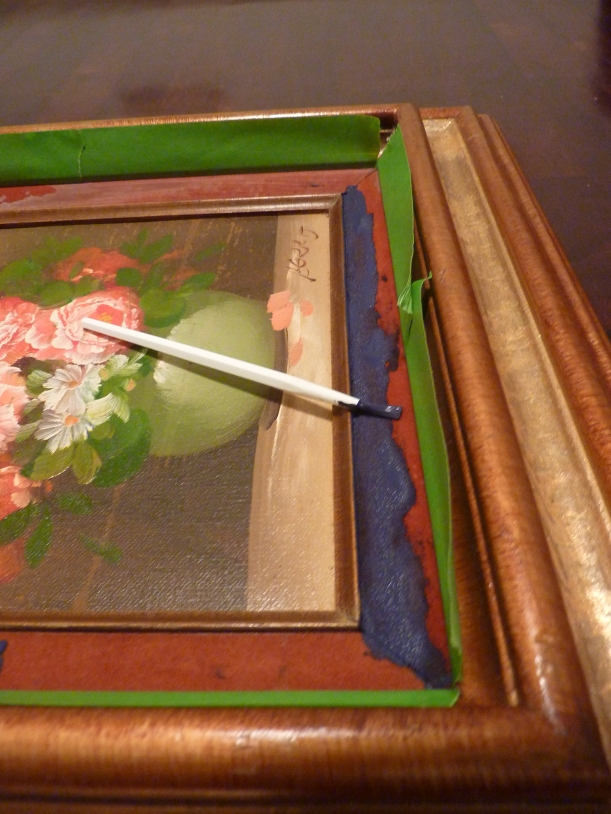 using frogtape to dress up an old oil painting's frame