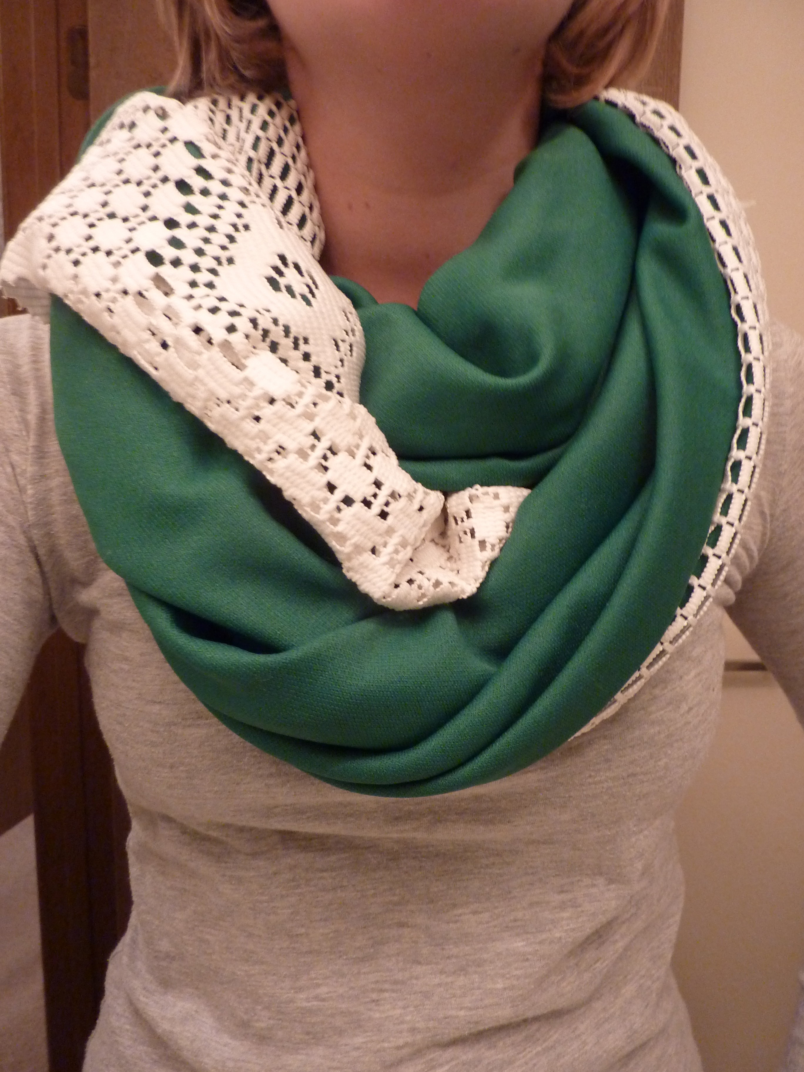 Lace infinity scarf with jersey knit