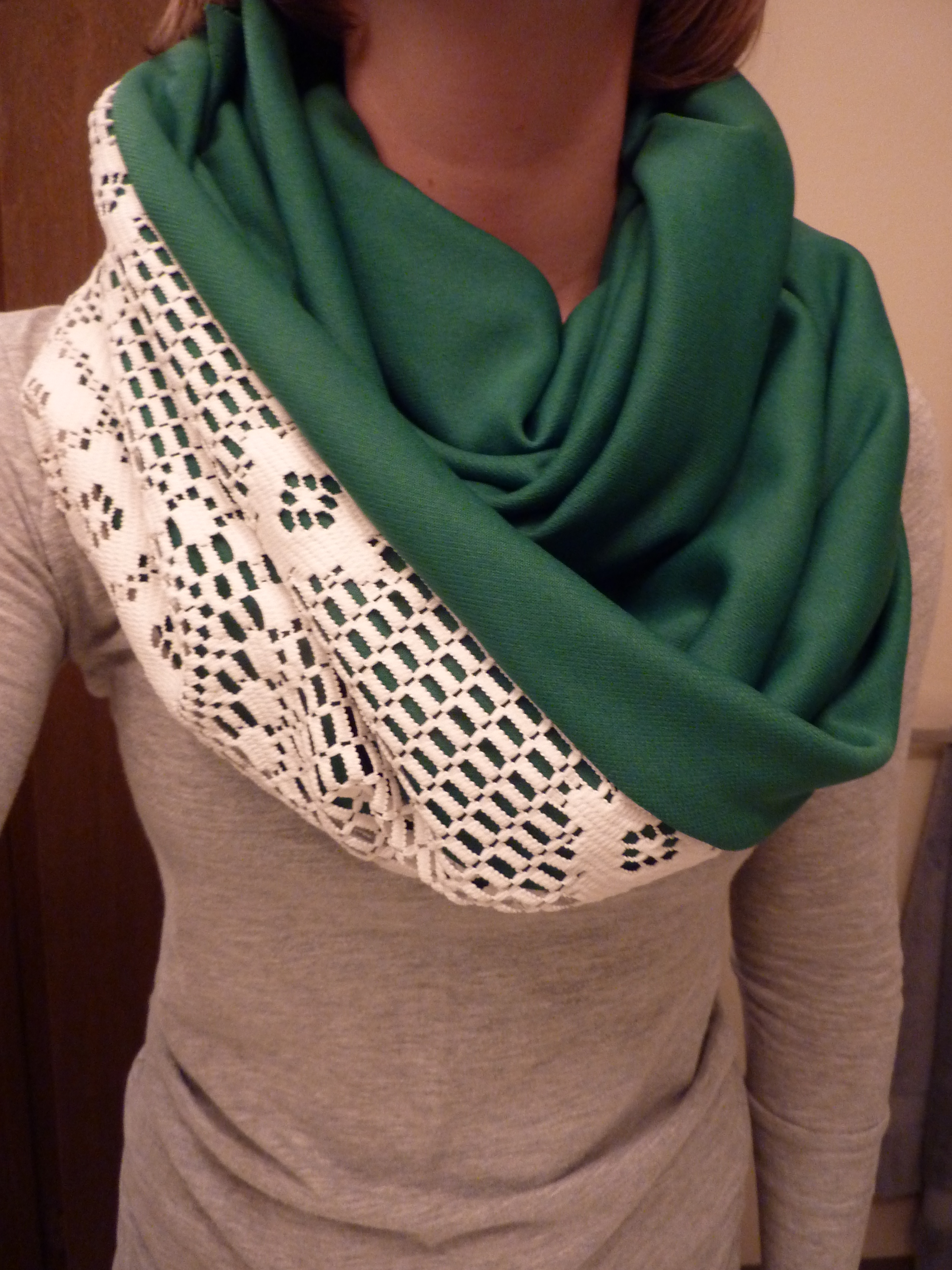 lace infinity scarf with jersey knit tutorial