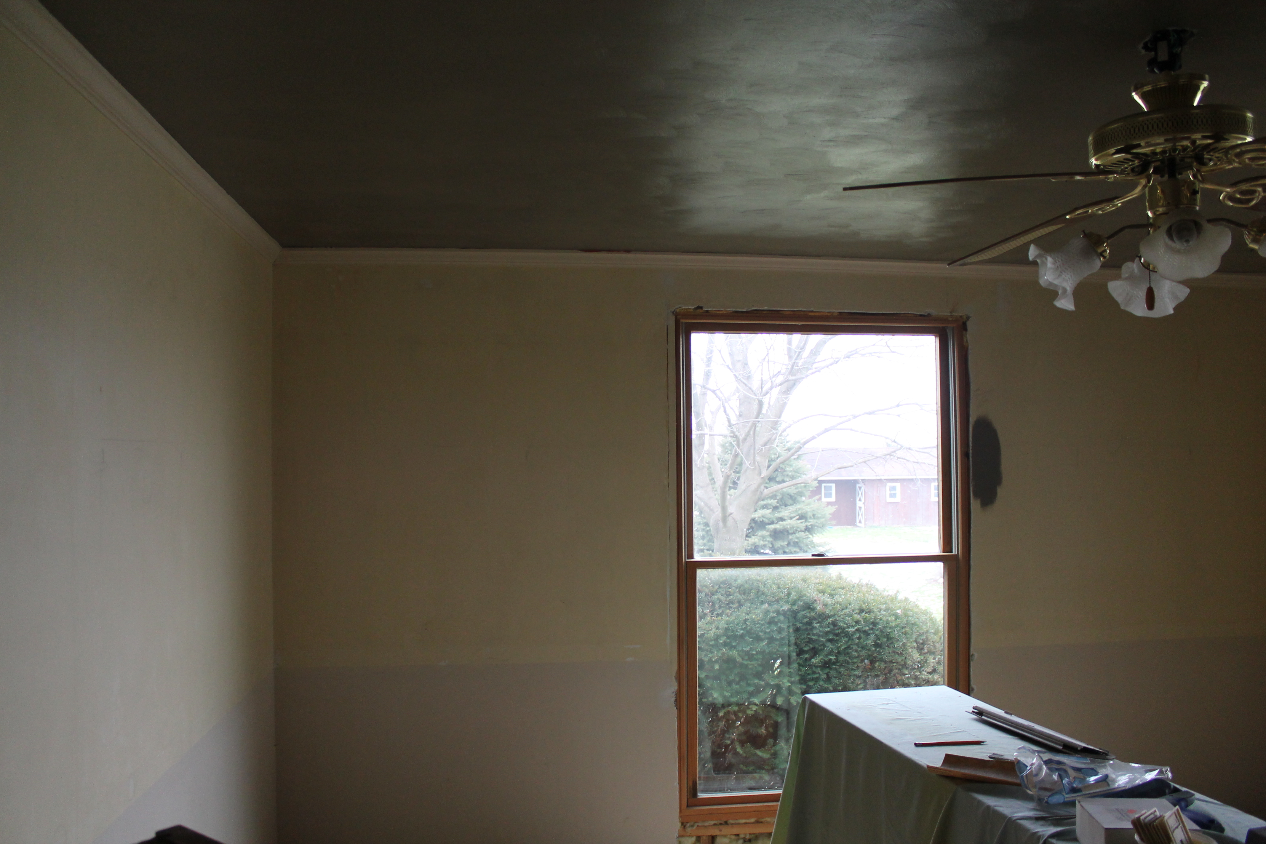 dark gray painted ceiling