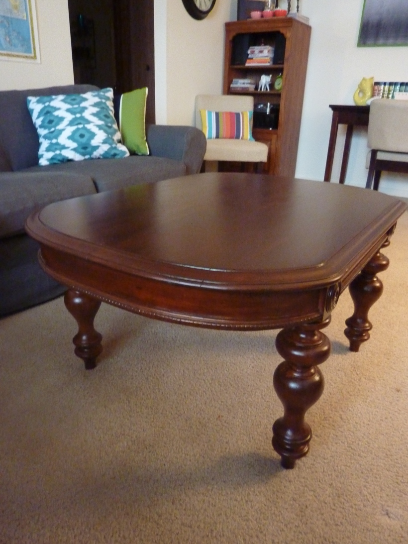 dark-stained coffee table