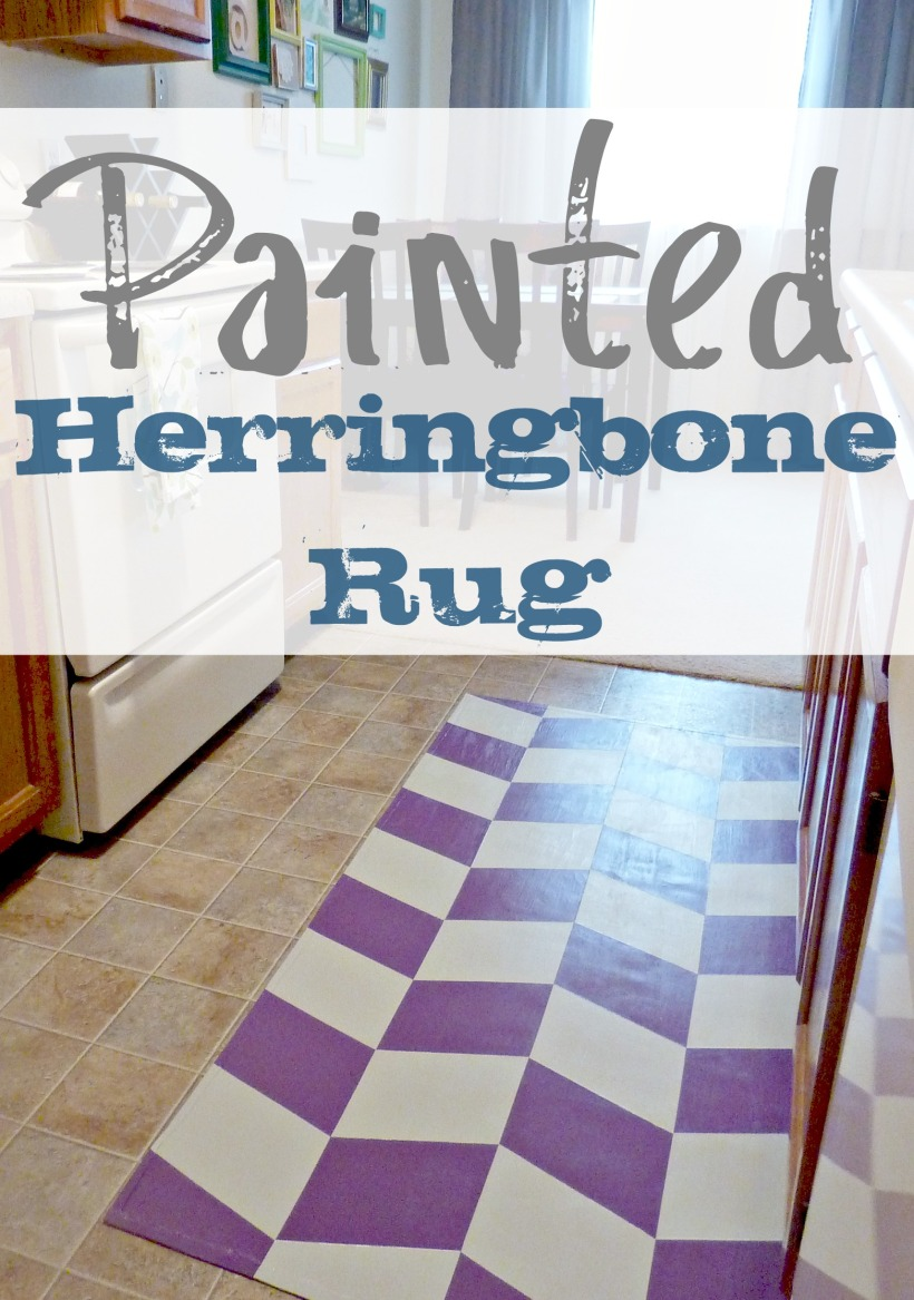 Painted Herringbone Kitchen Rug
