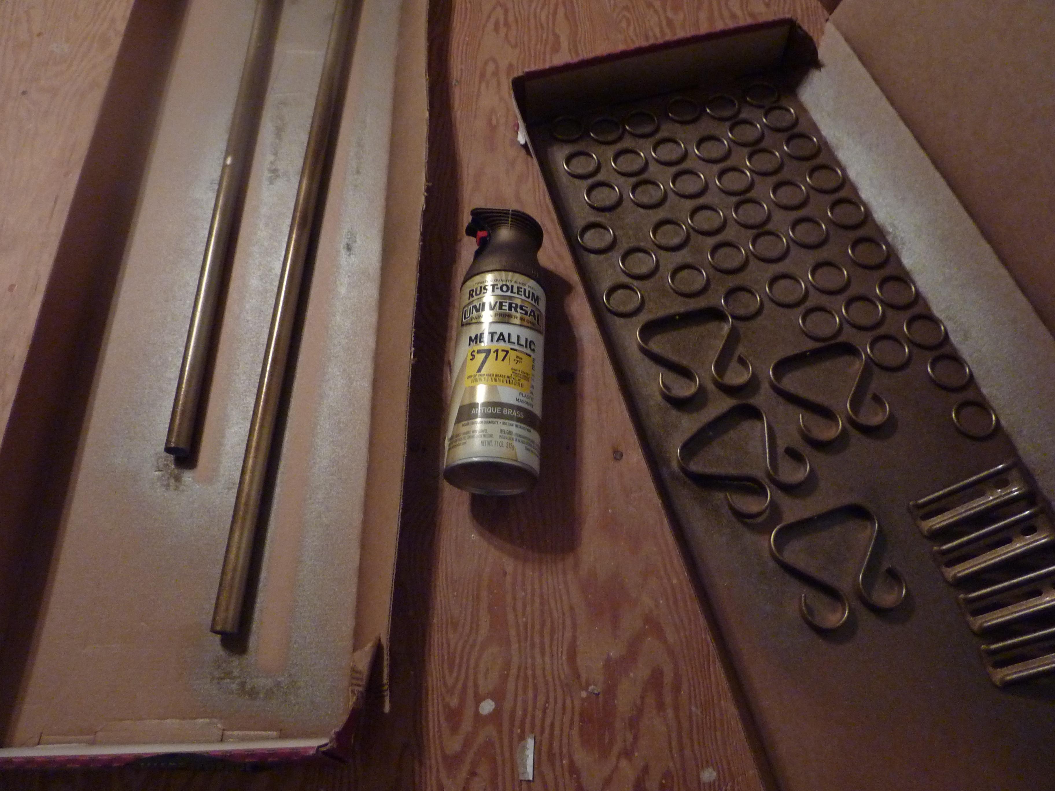 spray paint curtain hardware antique brass
