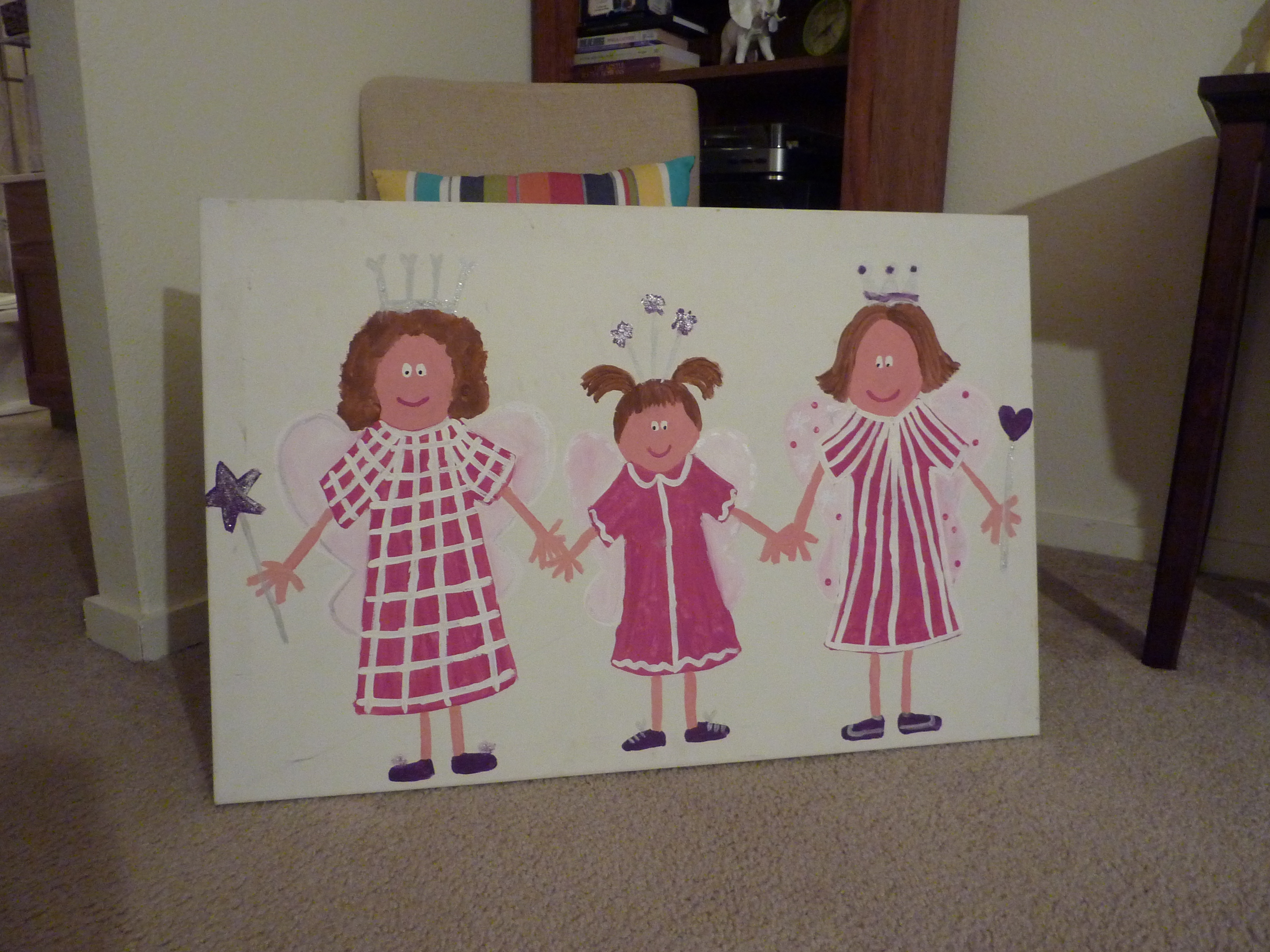 thrift store canvas with princesses