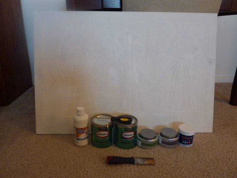 blank canvas and supplies