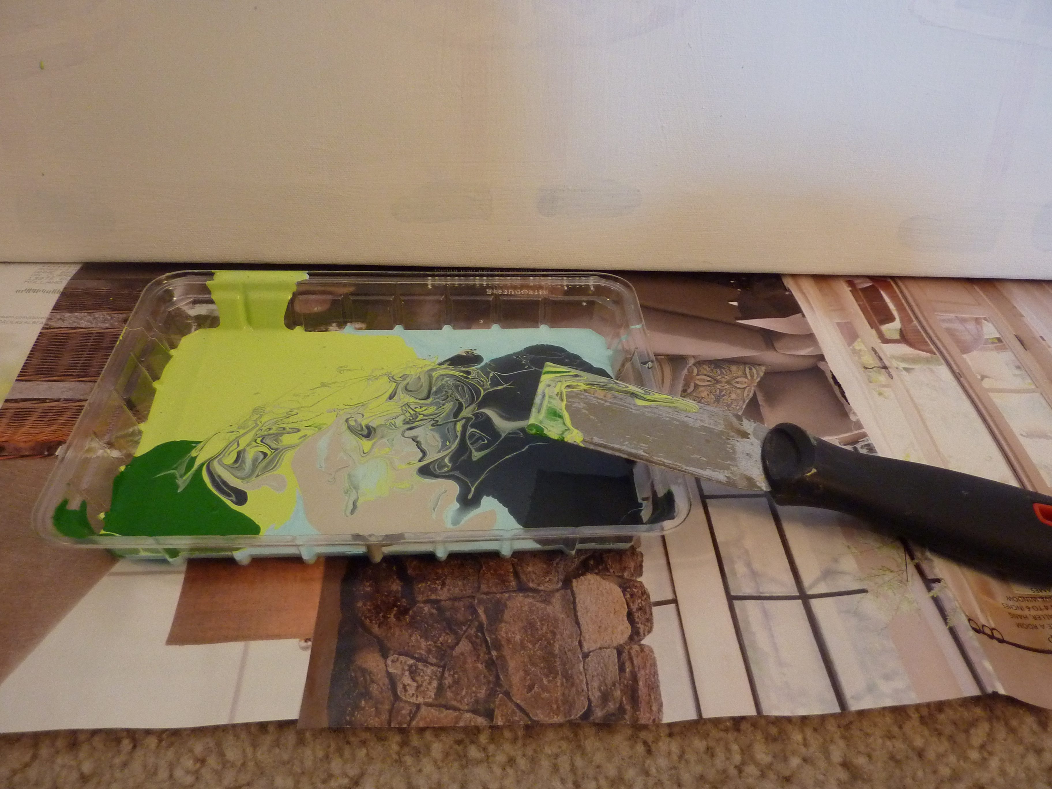 paint tray for putty knife art
