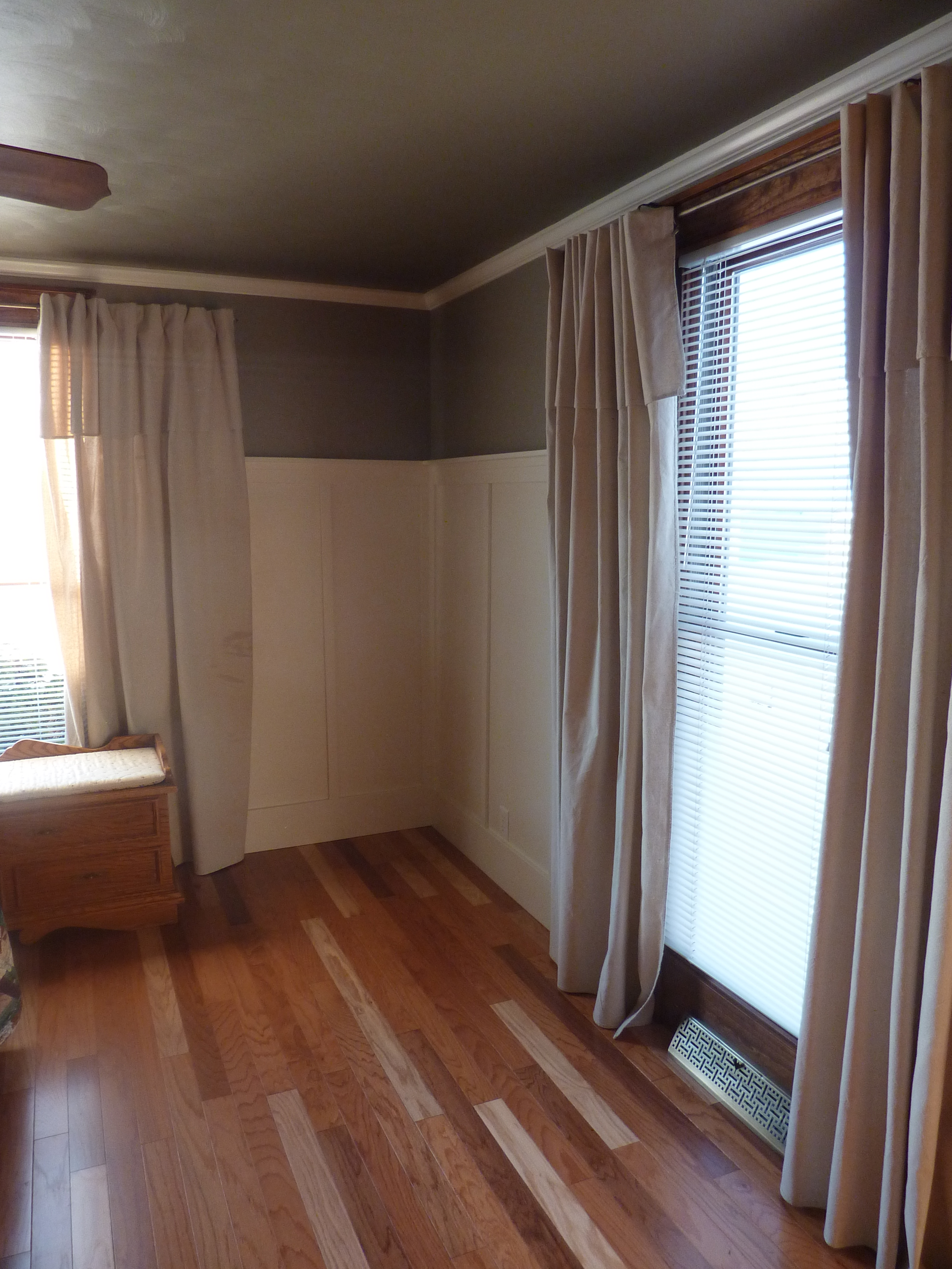 dropcloth curtains with board and batten and crown molding
