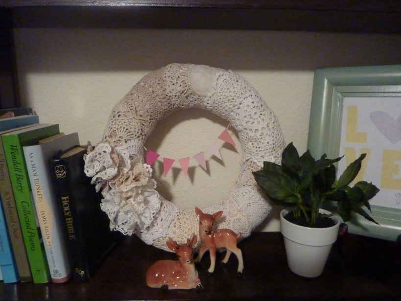 doily wreath with mini ombre pennant banner
