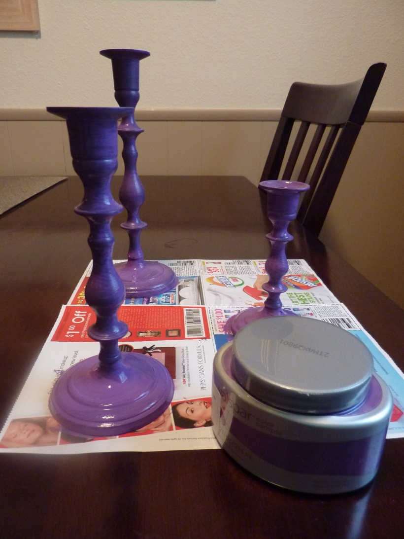 paint old brass candlesticks valspar purple royalty