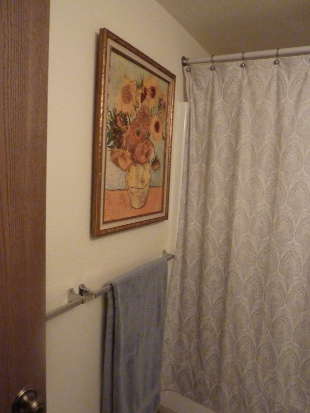 Fake Van Gogh Sunflower Painting in Bathroom