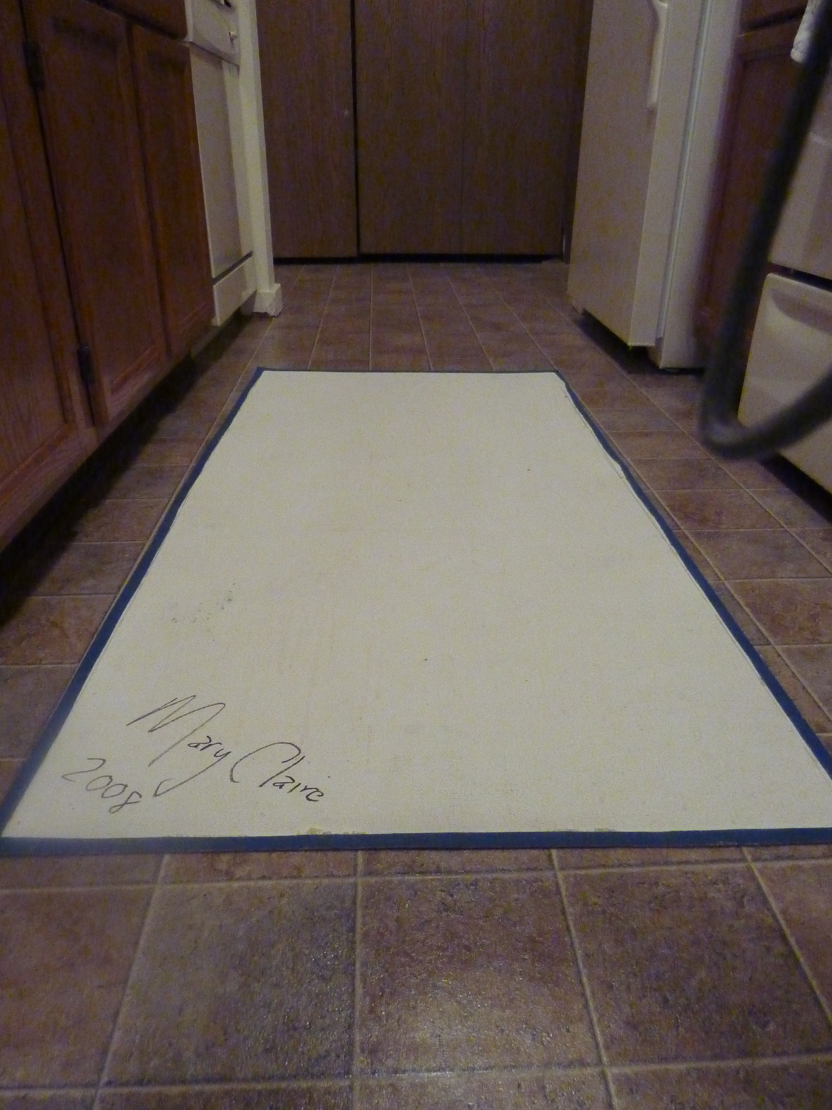 Back of Handpainted Canvas Kitchen Rug