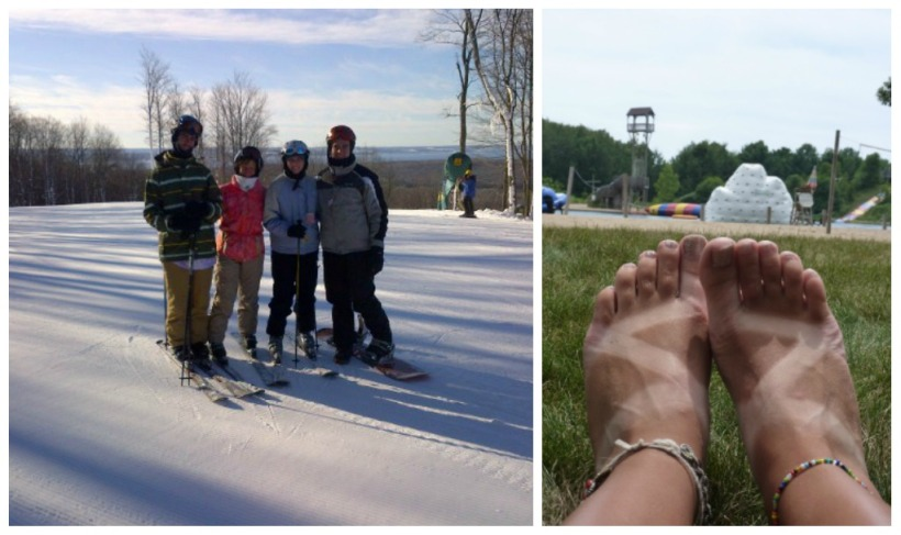 skiing and chaco tan line