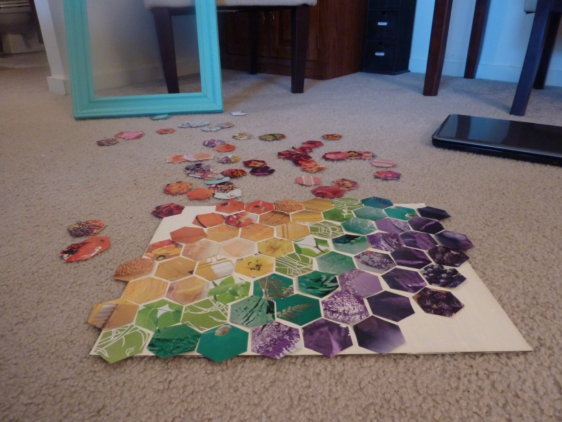 hexagon rainbow art with magazines