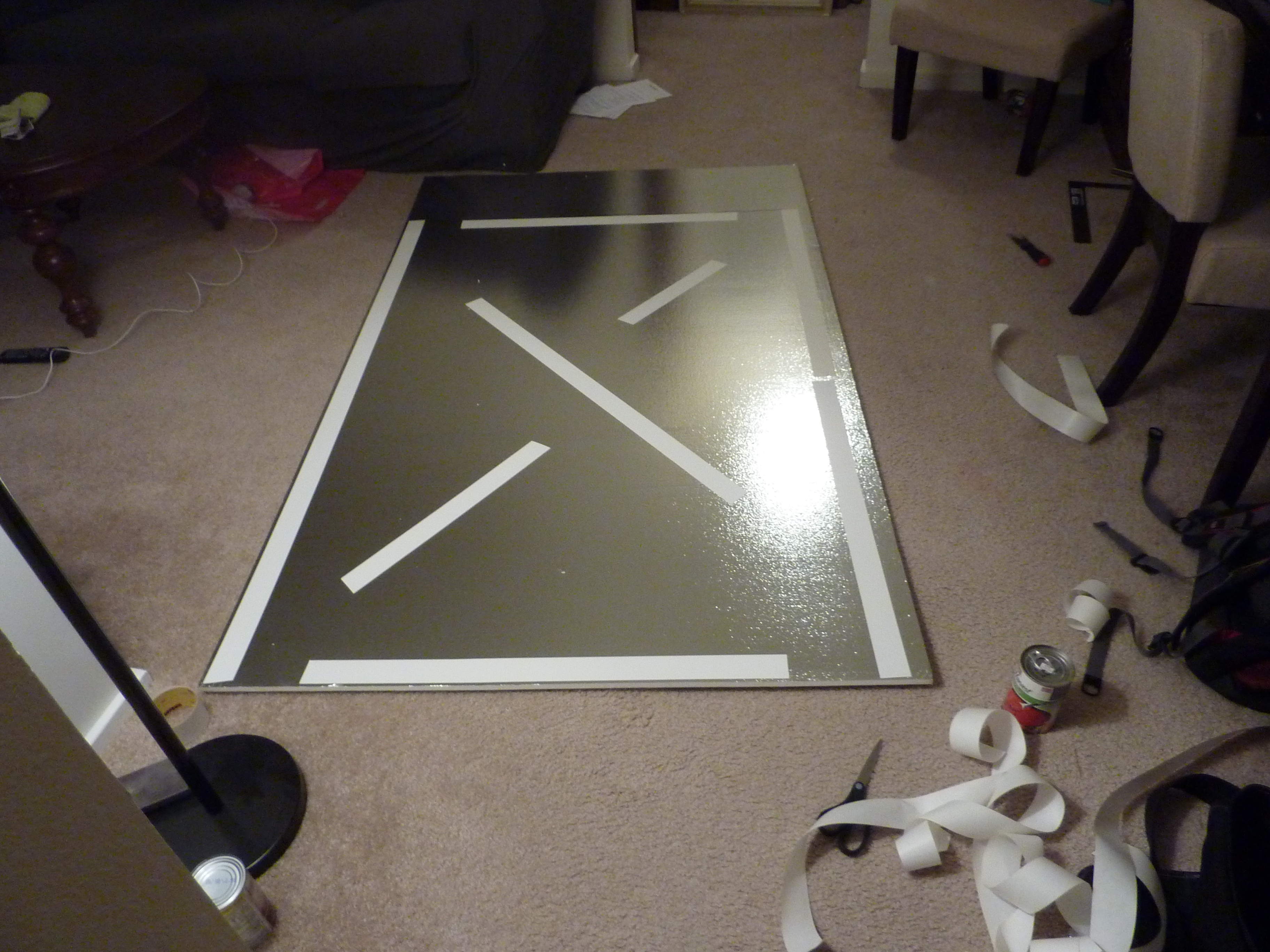 stick map to foam board with double stick tape