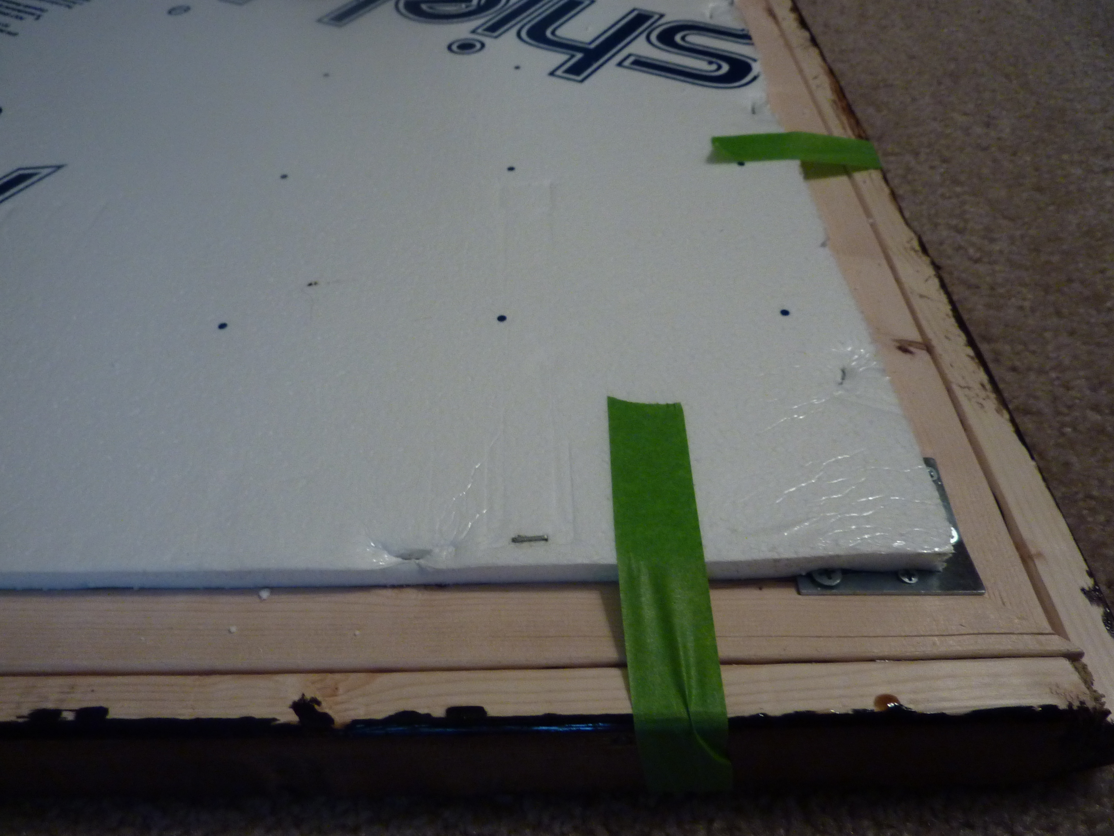 staple foam board to back of frame