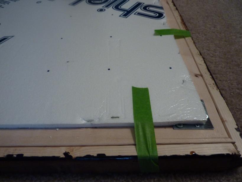 staple foam board to back of frame