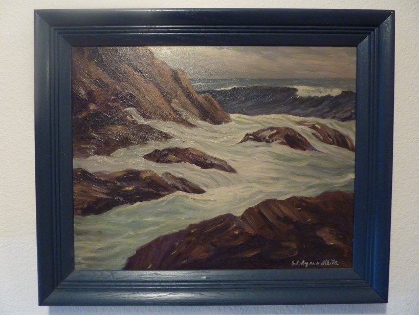 oil painting seascape with navy frame