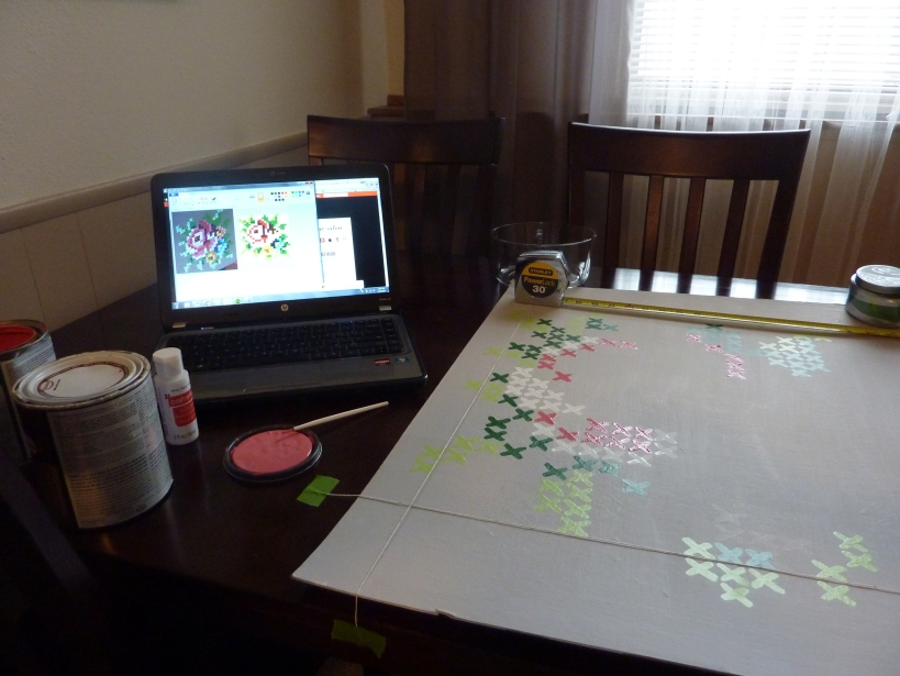 how to paint cross stitch art