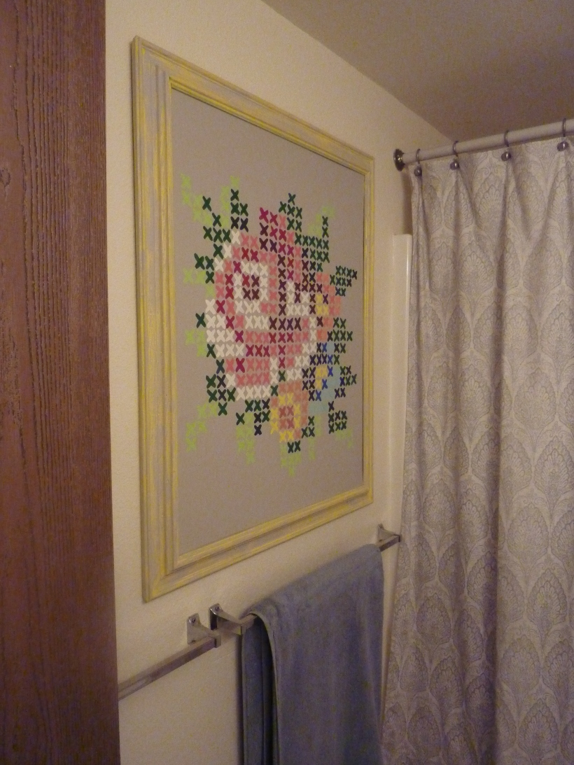 painted cross stitch  art flowers