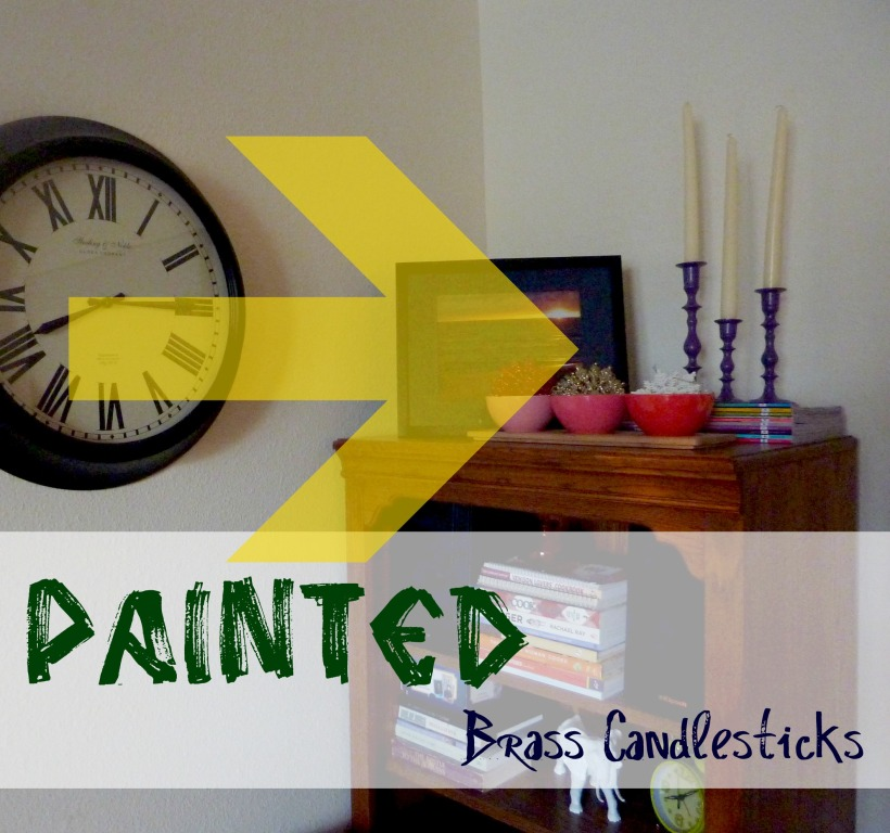 painted brass candlesticks