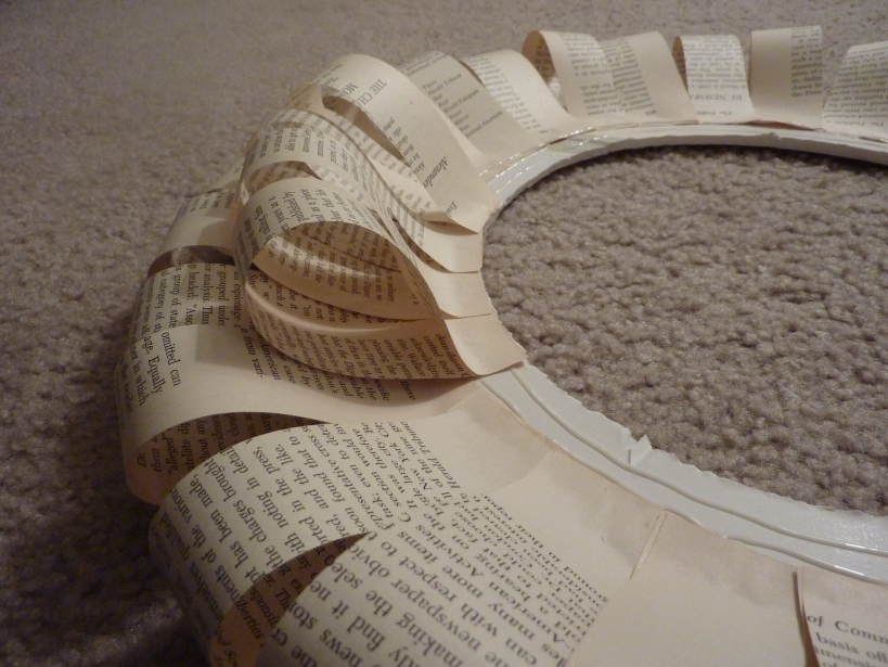 diy curled book page wreath process