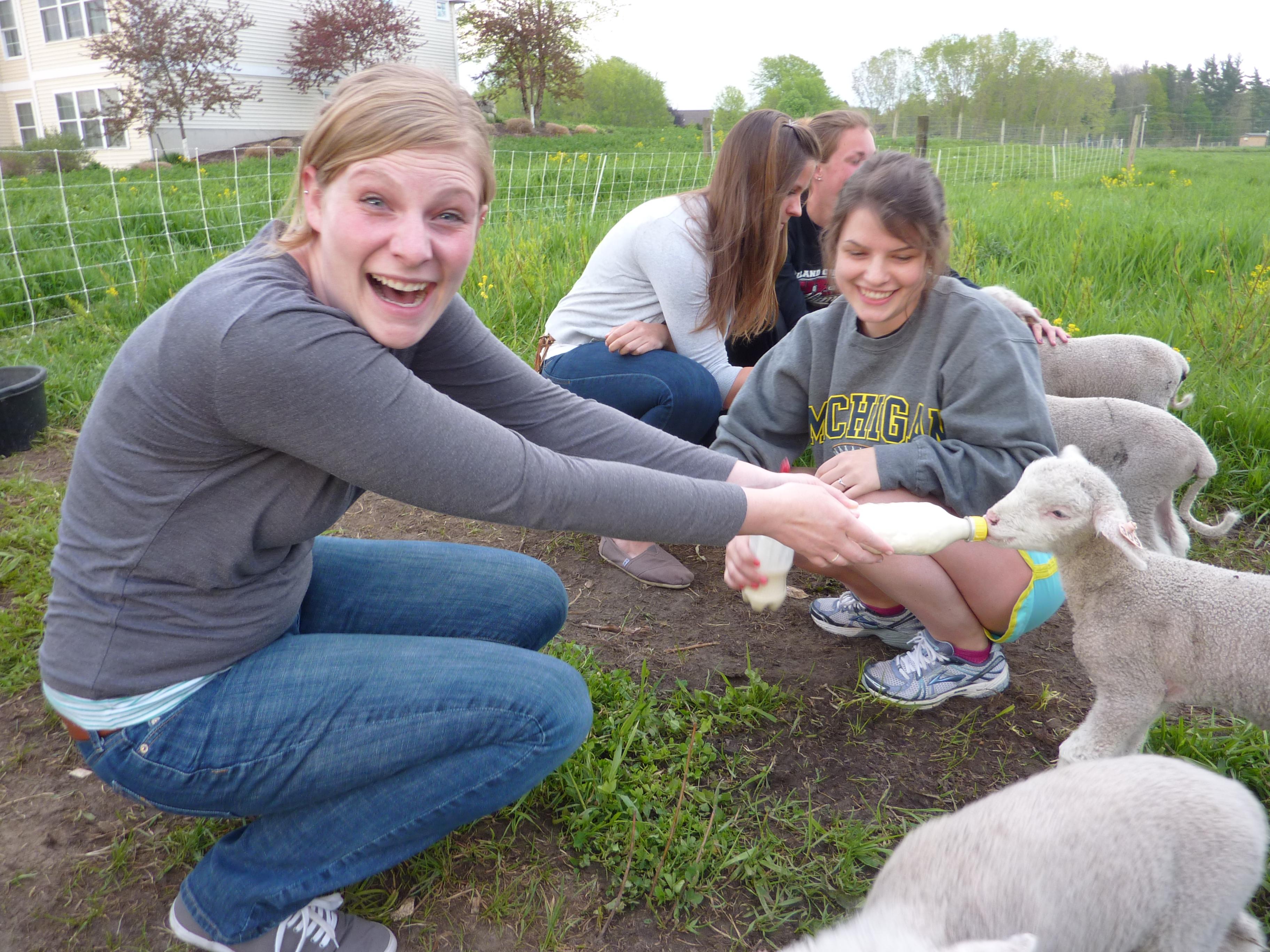 kelli feeding a lamb