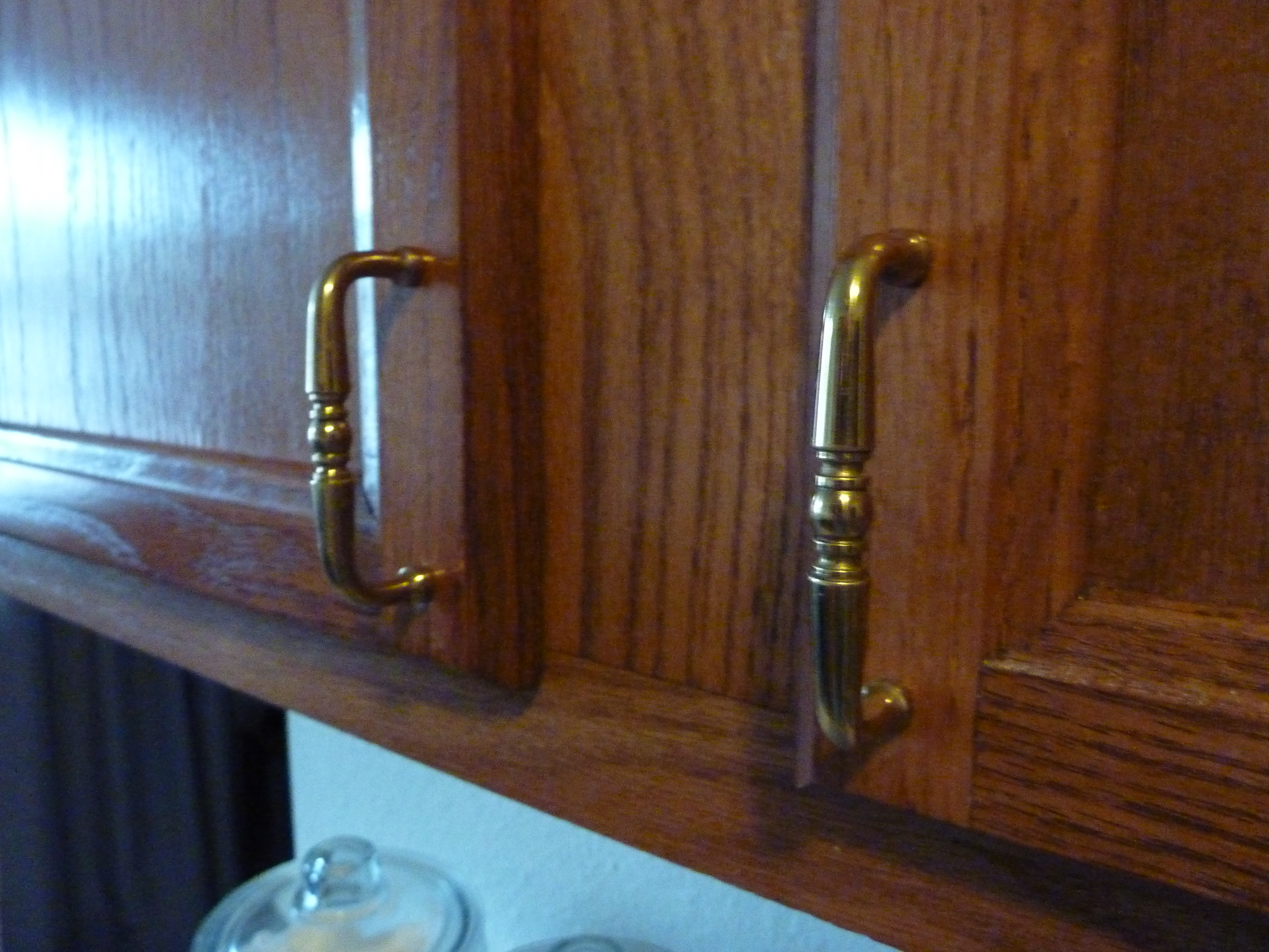 new handles in kitchen close up