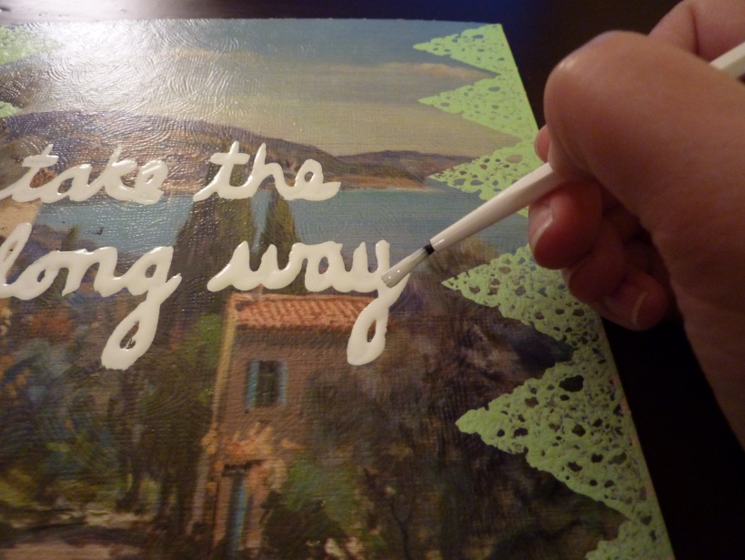 add cursive lettering to thrift store art