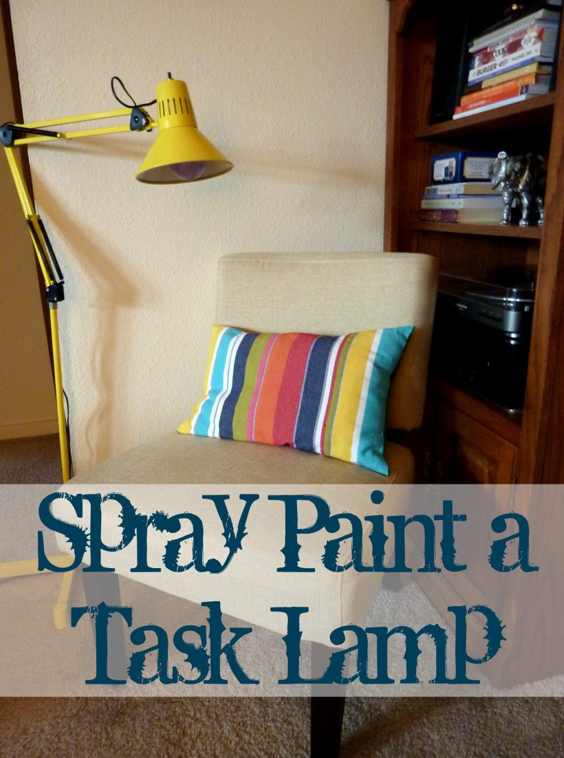 yellow spraypainted task lamp