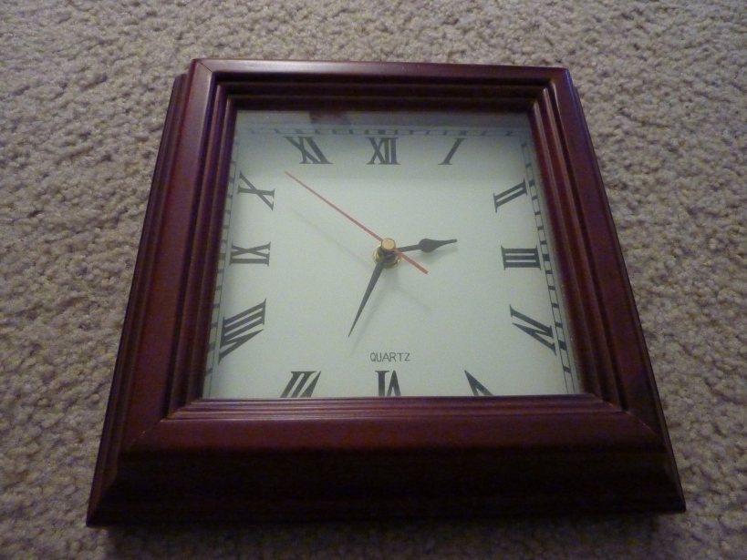 square clock dark wood