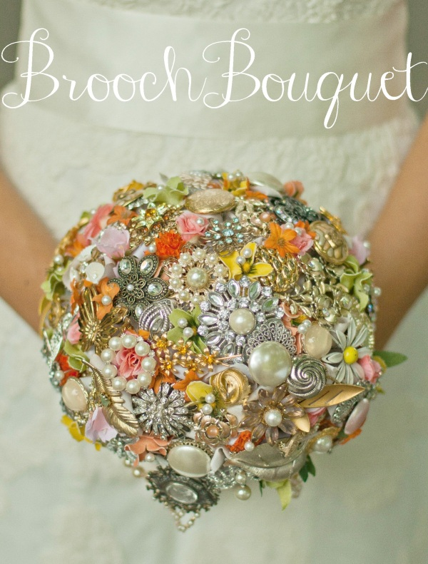 Stunning Brooch Bouquet! Underside has draped pearls around a ribbon-wrapped stem.