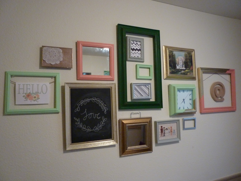 mint, coral, and gold gallery wall