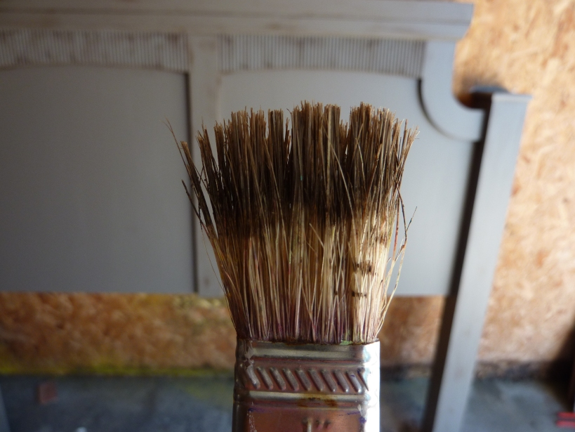 """""""dry brush"""" darker paint on furniture edges to create an antique look"""