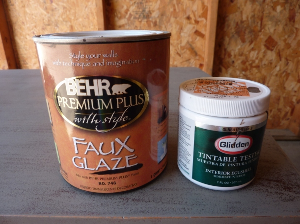Behr's Faux Glaze and Glidden Test Paint (brown): Perfect for creating an antique glaze